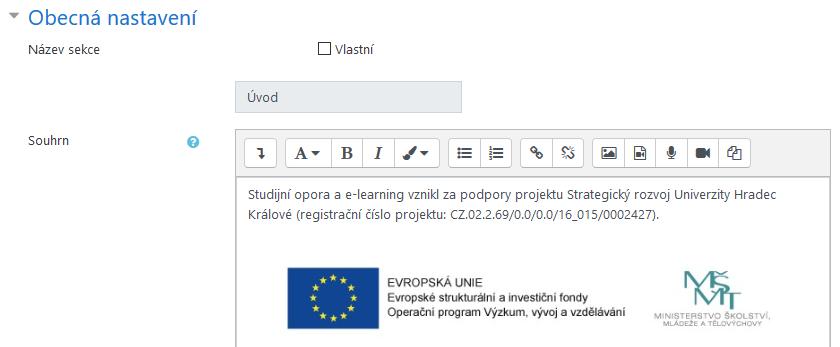 Vložení loga a označení projektu