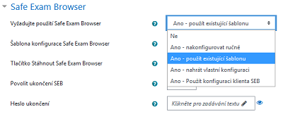 Nastavení testu - Safe Exam Browser