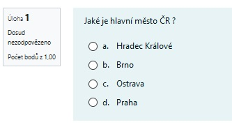 Příklad : Výběr z možných odpovědí