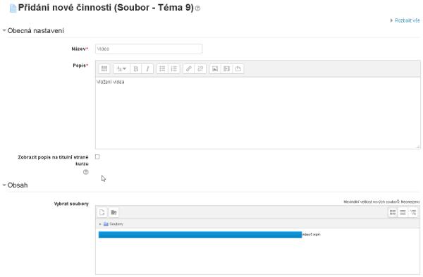 Dialogové okno pro upřesnění vlastností videa