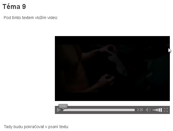 Vložené video s náhledem