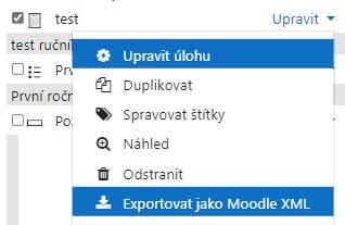 volba Exportovat jednu otázku do souboru Moodle XML