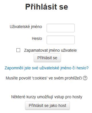 Okno pro přihlášení uživatele