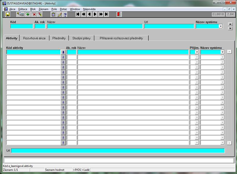 Úvodní obrazovka Aktivity STAG