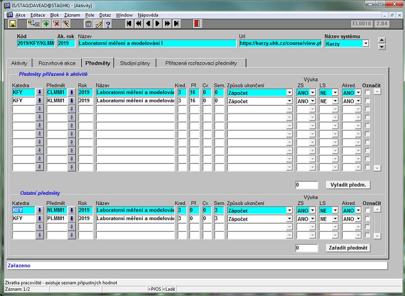 Výsledná obrazovka po zařazení předmětu.