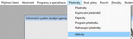 Vybrat z menu Aktivity